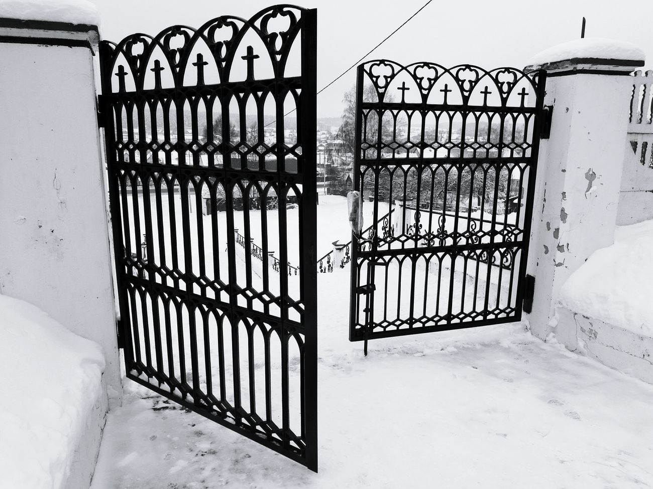 Gates To Heaven  Church Gates Forging Work Crosses Black White Hang Textured Weekend Lace Day