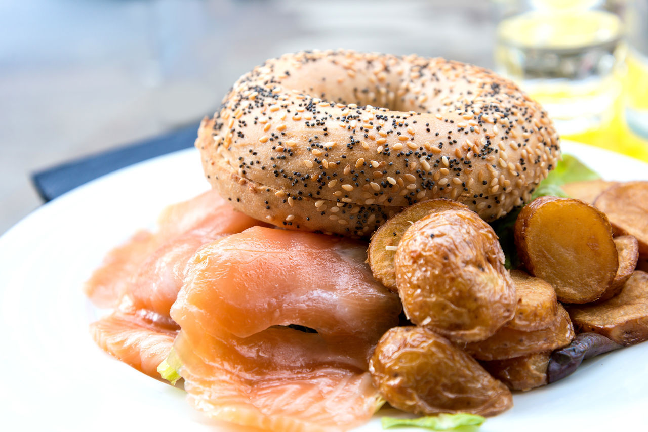 Bagel Served With Salmon And Baked Potato