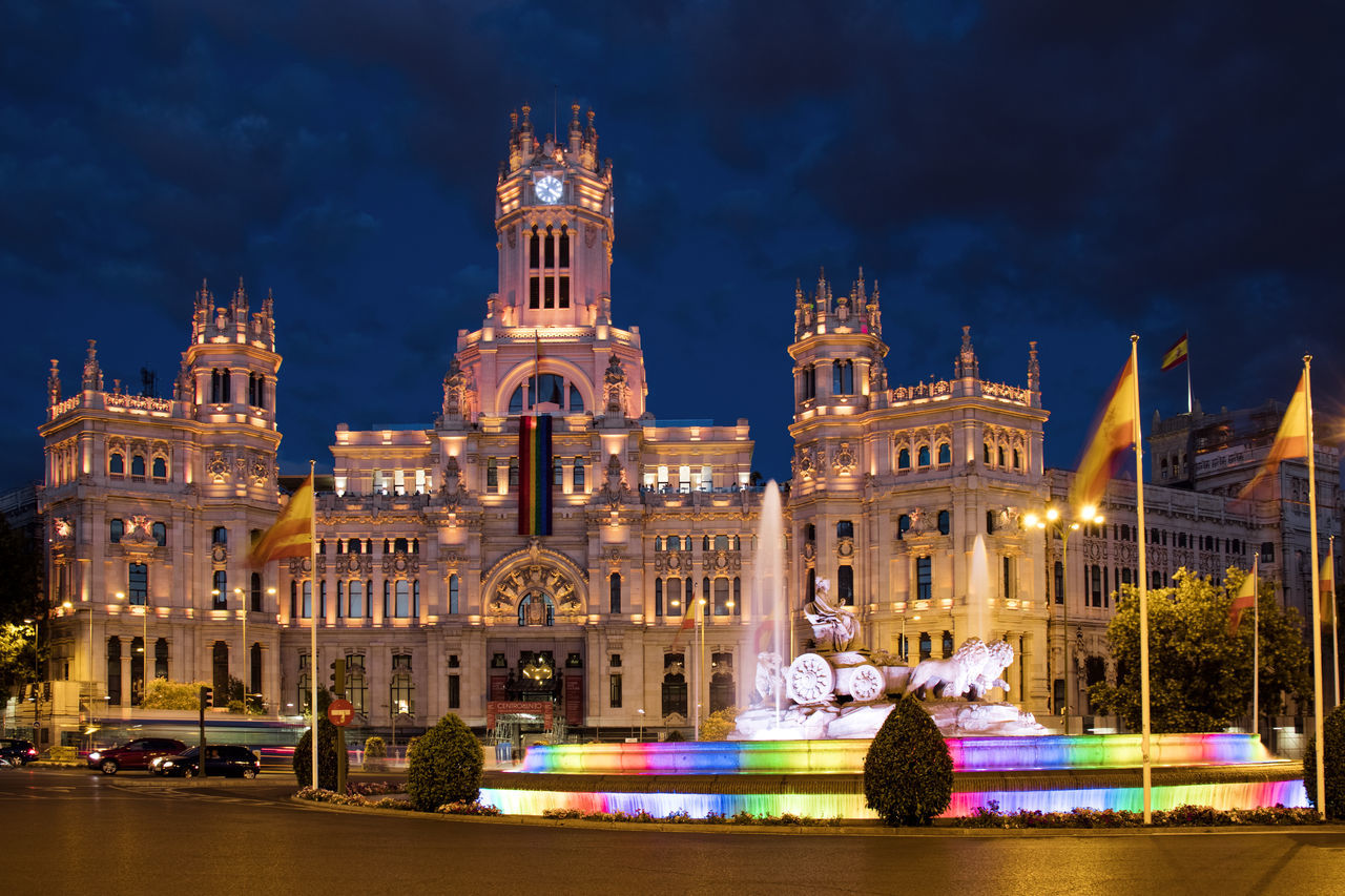 Building Exterior Built Structure Cibeles Cibeles Palace City Colorful Fountain Gaypride Illuminated Madrid Madrid World Pride Night Night Lights Night Photography No People Outdoors Palace Pride Pride Parade Sky Tourism Travel Travel Destinations Tree Water