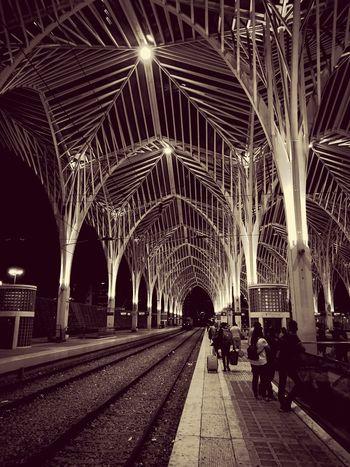 Gare do Oriente, Lisboa, Portugal. Architecture Rail Transportation Built Structure Railroad Track Night Transportation Illuminated Travel Destinations Architectural Column Large Group Of People Trainstations