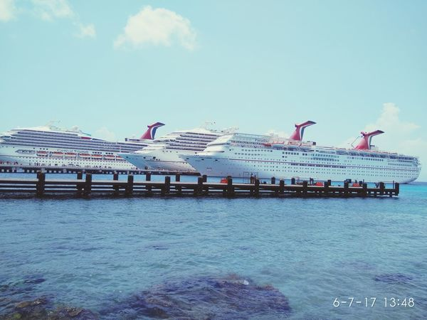 Three's company... Sunny afternoon in cozumel Transportation Sea Mode Of Transport Navy Outdoors Nautical Vessel Cruise Ships Cruise Ship Photos Cruise Liner cozumel #sky blue mexico Cozumels Beach