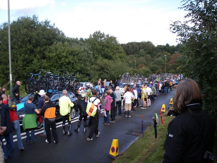 Large Group Of People Leisure Activity Cycling Tob2013 Wales Spectator Crowd Event Tour Of Britain Caerphilly Caerphilly Mountain