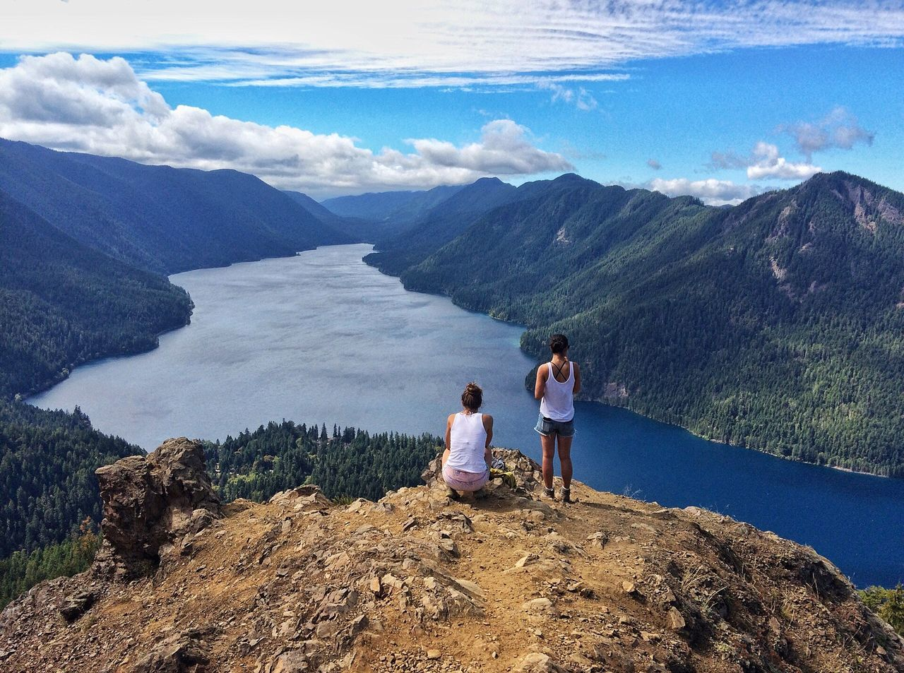 Beauty In Nature Blue Cloud - Sky EyeEm Nature Lover Hikingadventures Lake Landscape Mountain PNW Togetherness Two People Viewpoint Water