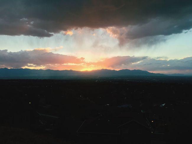 Beautiful Sunset Sunset Dark Silhouette Mountain Scenics Tranquil Scene Landscape Cloud Sky Outline Beauty In Nature Tranquility Cloud - Sky Mountain Range Majestic Nature Calm Atmosphere Outdoors Sun