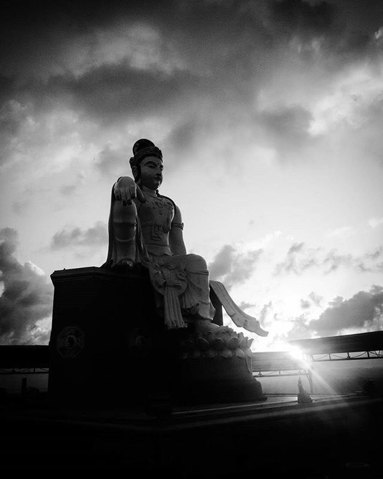 Sunset on a hill near Hat Sairee, Pak Nam, Thailand ThousandMilesJourney.com ASIA Thailand Chumphon Paknam Hatsairee Thailandphoto Bwphoto Buddhas Sunset_pics Bwphotography Statues Travelaroundtheworld