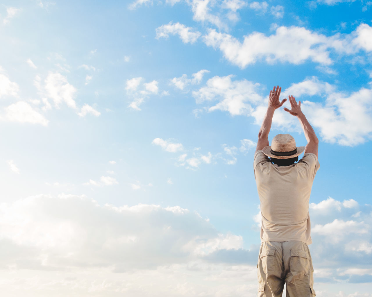 Arms Raised Cloud - Sky Day Leisure Activity Lifestyles Men Nature One Person Outdoors People Real People Sky Standing