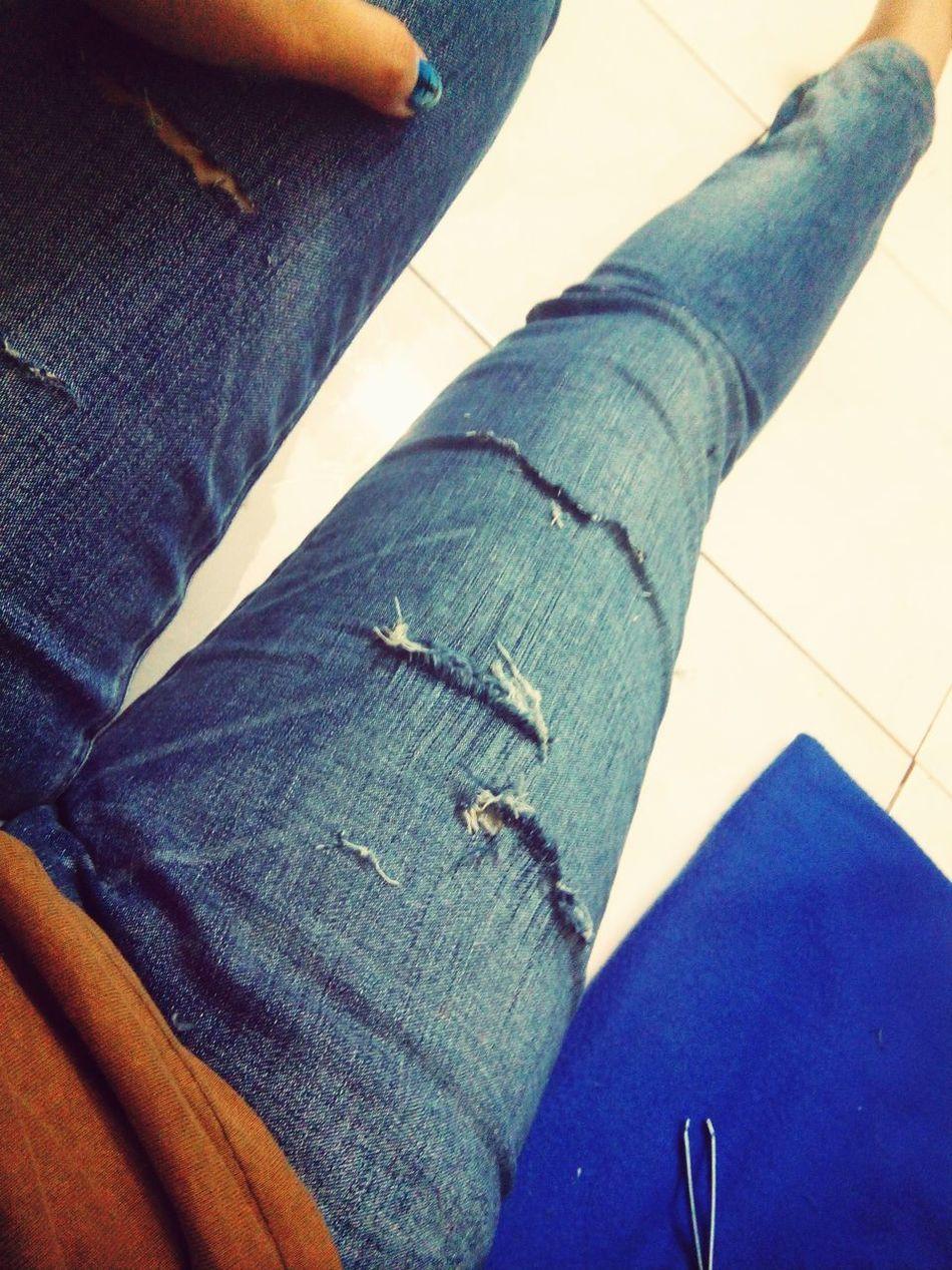 DIY distressed jeans Relaxing Rocker Fashion