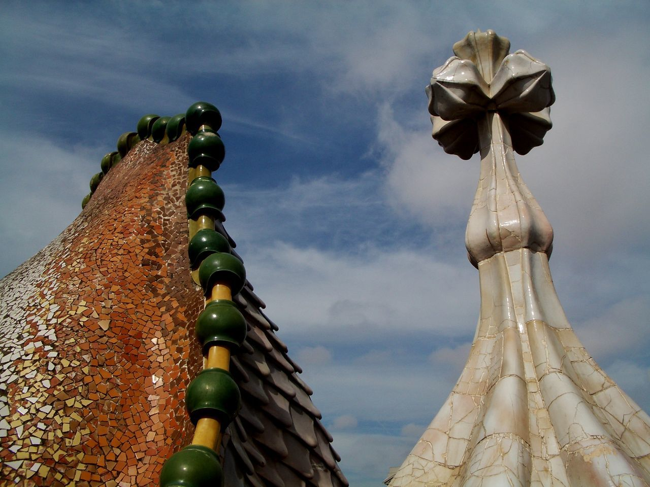 Architecture Art Deco Architecture Barcelona Cloud - Sky Gaudi Low Angle View No People Outdoors