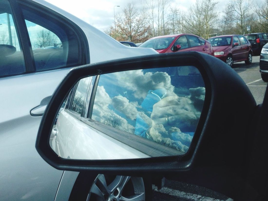 Dreams Of The Open Road Stansted Airport car park Winter Cold Daytime No People IPhone Photography Blue Sky Cloud Burst Sky In A Wing Mirror Blue Wave