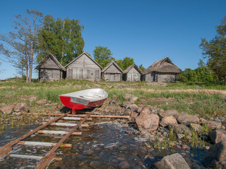 Altja Architecture Boa Boathouse Boathouses Built Structure Clear Sky Day E Lahemaa National Park No People Outdoors Red Boat Seaside Tree Weathered Wood