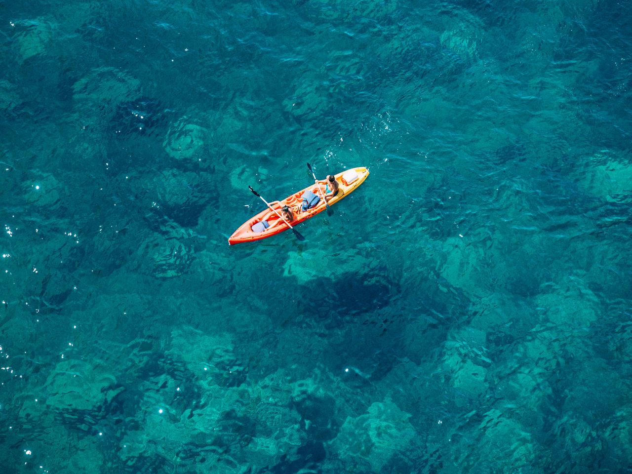 High Angle View Of Canoe In Sea