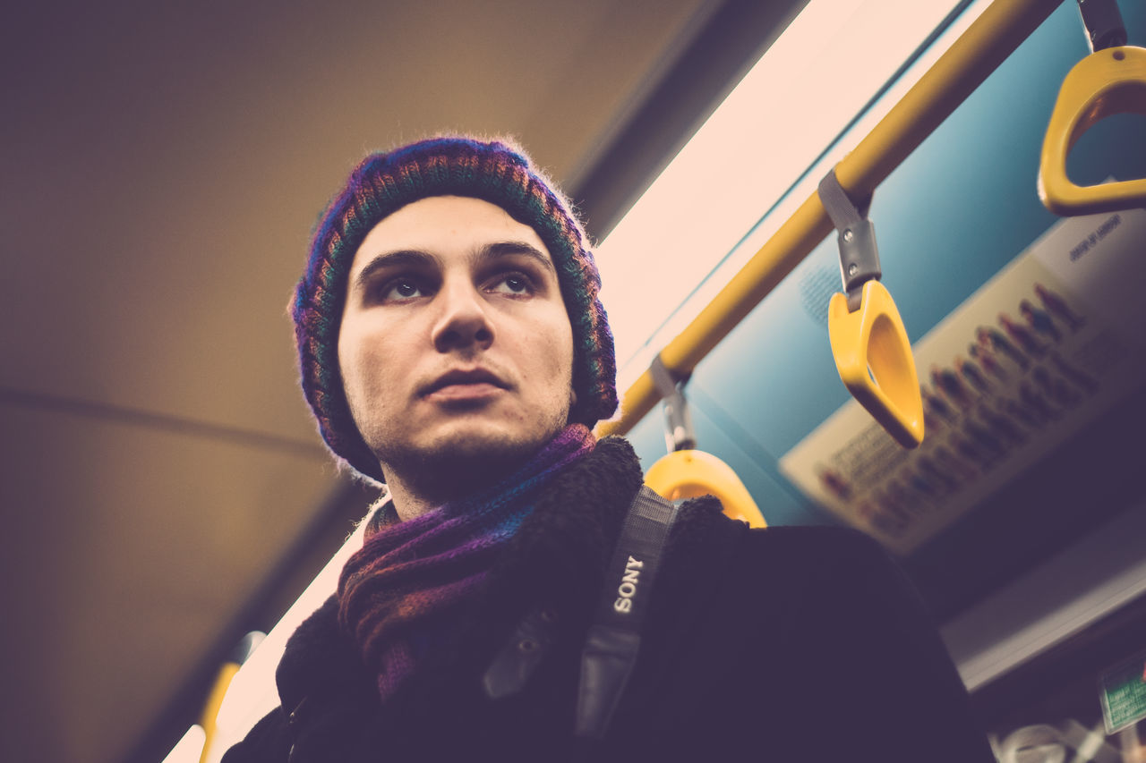 Adult Beautiful People Bus Hipster - Person Lifestyles London London Bus Macho Males  Men Modern One Man Only One Person Outdoors People Portrait Serious Transportation Uniqueness Warrior - Person Young Adult Miles Away