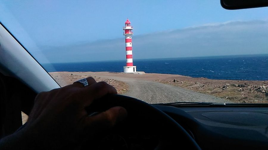 Driving Frommycar Light House And Blue Sky Light House Faro Car Shooting