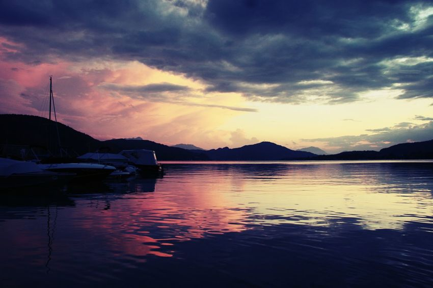 Sunset Water Boats Clouds And Sky Hills And Valleys Harbor Calm Water