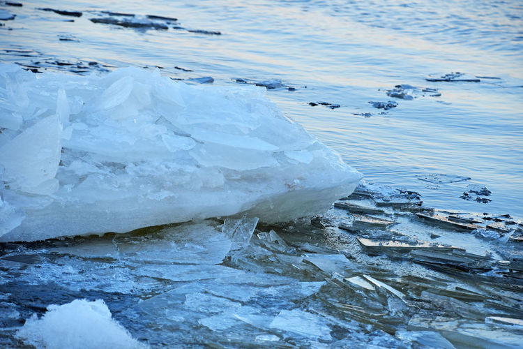 Ice breaking on the river in evening hour Blue Broken Change Close-up Cold Cold Temperature Colorful Day Frozen Lake Glacier Global Warming Ice Ice Breaking Lake Melting Nature Outdoors River Season  Spring Springtime Vivid Water Winter Wintertime