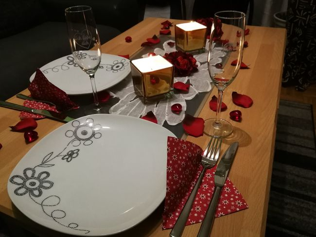 Romantic dinner Romantic Dinner Dinner Time Romantic Dinner Love Valentine's Day  Valentine Table Decoration Decorated Decorations Candles Candle Light Candlelight Table Food And Drink Plate Indoors  No People Food Indulgence Celebration