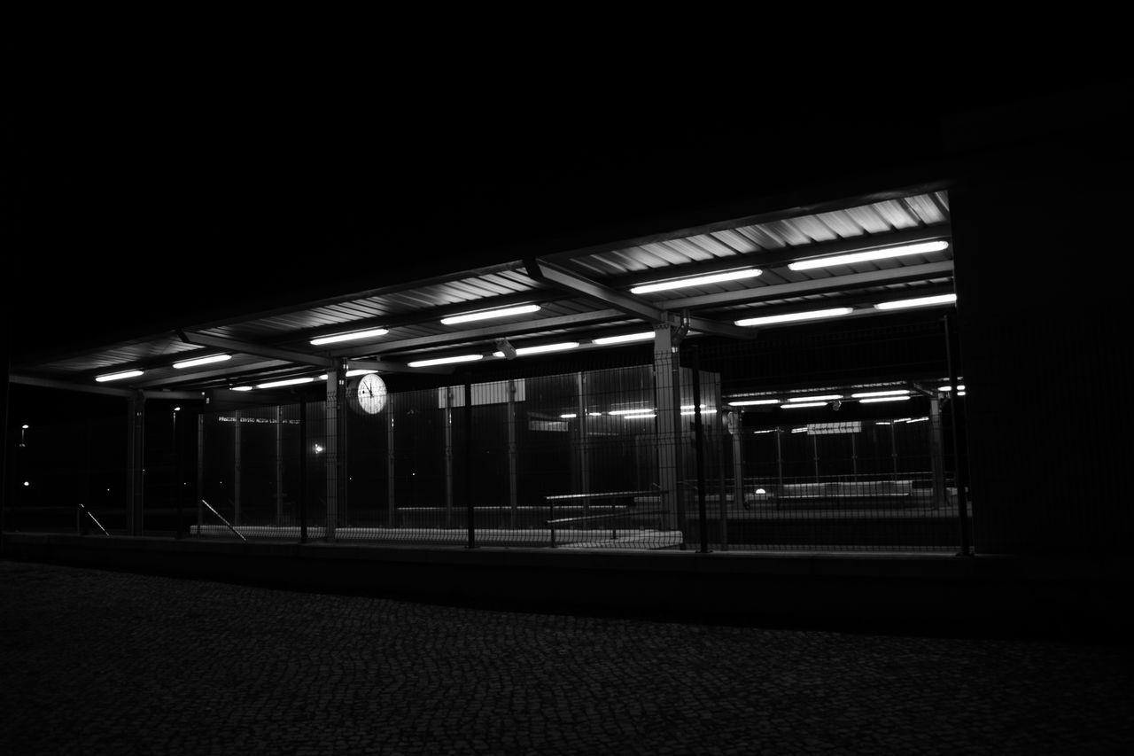 night, illuminated, railroad station platform, transportation, rail transportation, railroad station, no people, indoors