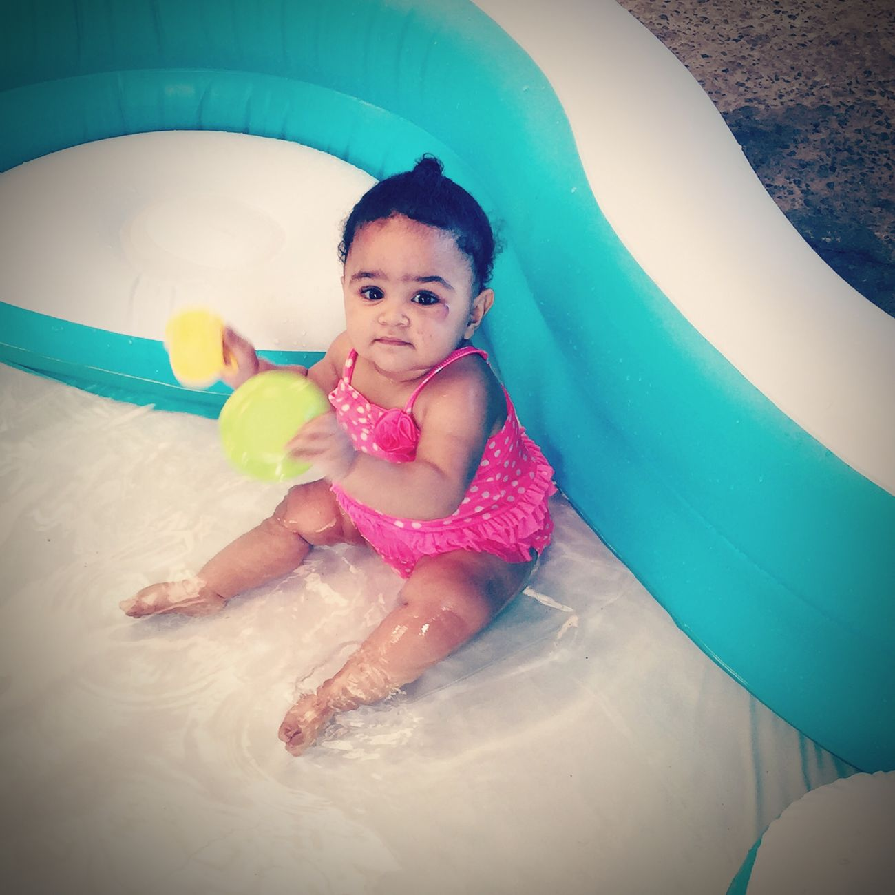 Our baby going for a dip on a hot summer's day Poolbaby