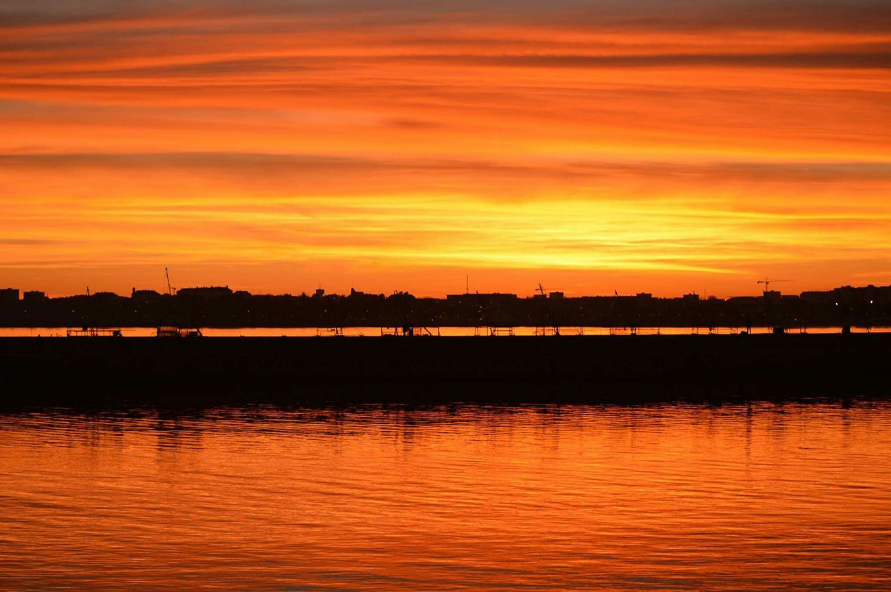| S U N S E T | Sunset Nature Reflection Sky Orange Color Tranquility Multi Colored No People Beauty In Nature Photography Nikon Sea Planet NoEffects