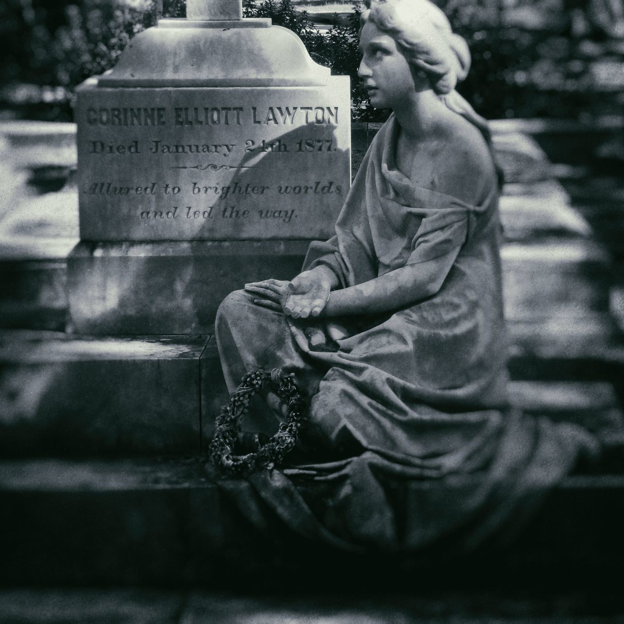 Allured to brighter worlds, and led the way. Blackandwhite Bonaventure Cemetery Cemetery Marble Monument Outdoors Representation Of A Woman Sculpture Statue Tourism Wetplate