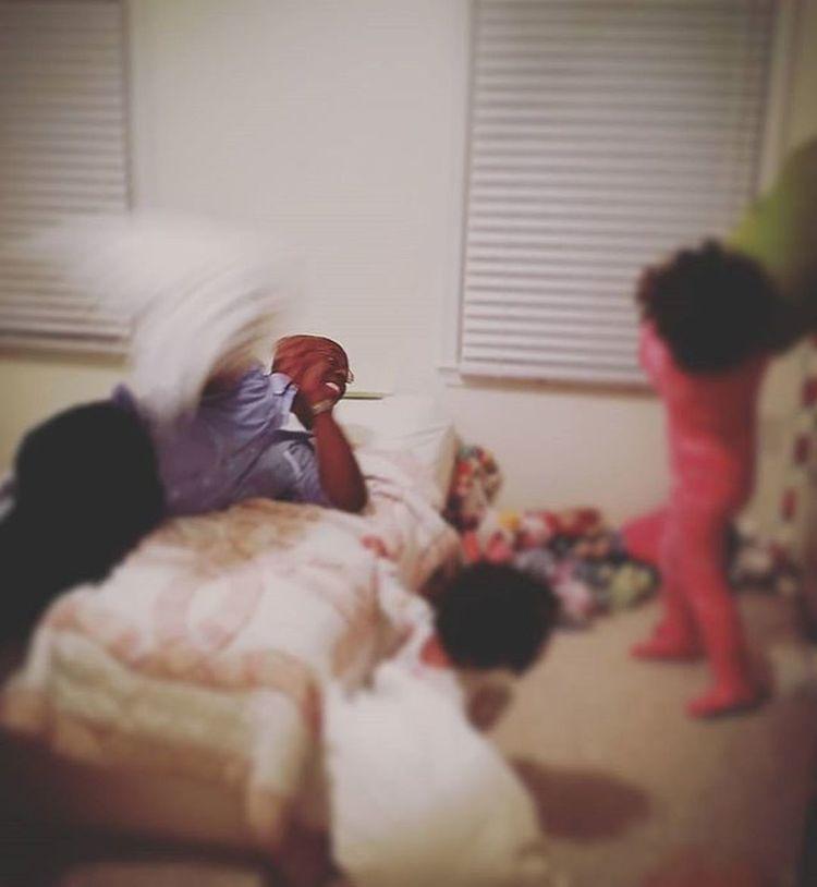 The nightly pillow fight. I love them! Mommytweet Childhood Unforgettableinstagram Shootyourlife