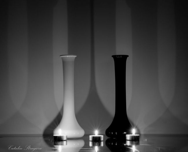 Angel and Demon Beautifull Composition Shadows And Backlighting Beauty In Ordinary Things Glass Black And White Shadows & Lights Candle Beautifull Creature Glass_collection Creative Light And Shadow Candlelight Black And White Photography Composition Candle Flame Candle Light Abstract