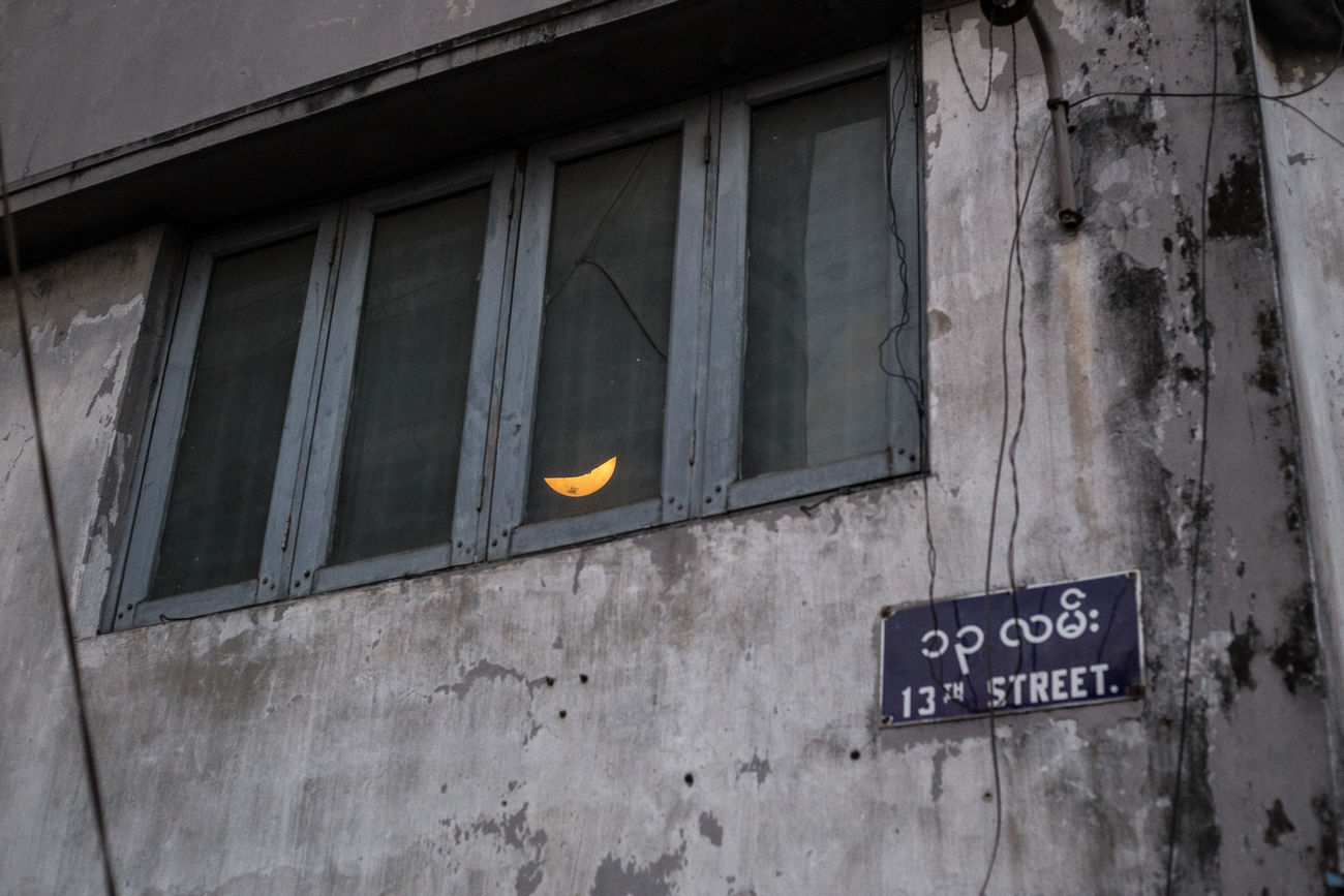 Moon/lamp over the 13th Street, downtown Yangon, Myanmar 13th Street ASIA Burma Chinatown Crescent Moon Dirty Wall Downtown Illusion Lamp Minimal Moon Myanmar Old Buildings Old Wall Rangoon Screscent South East Asia Street Photo Street Photography Streetphoto Streetphoto_color Streetphotography Through The Window Window Yangon