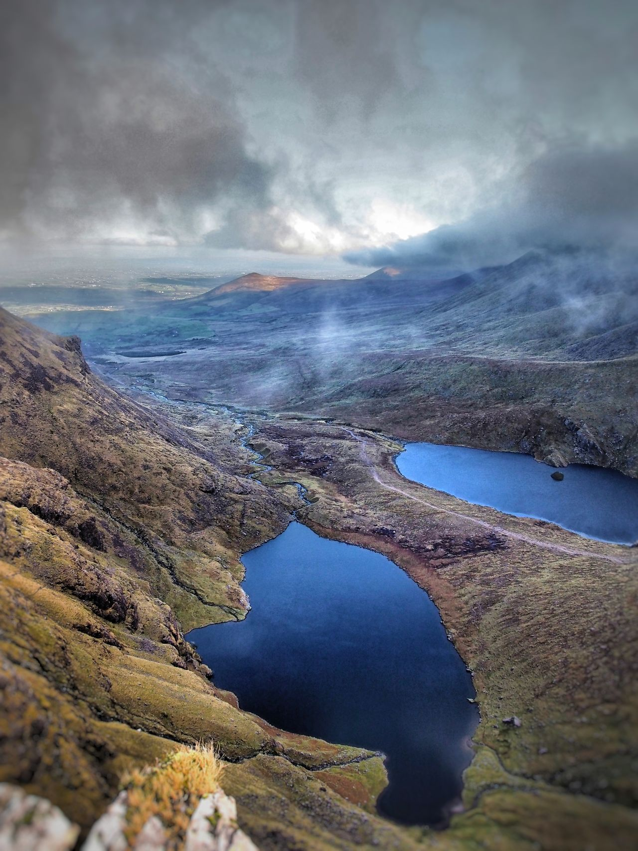 Hag's Glen Macgillycuddy's Reeks Ireland Landscape Nature No People Outdoors Beauty In Nature Cloud - Sky Glen Lough Gouragh Lough Callee Lough Mountain Range Hiking Photography Landscapes Lake Miles Away Flying High
