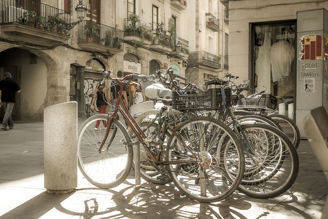 Parked bicycles in the old downtown of Barcelona City Barcelona City Barcelona's Old Downtown Barri El Born Bicycle Bikes City Culture Day Land Vehicle Mode Of Transport Old Downtown Outdoors Parked Parking Stationary Street Transportation Urban Lifestyles Urban Scenes Urbanexploration Urbanphotography Wheel