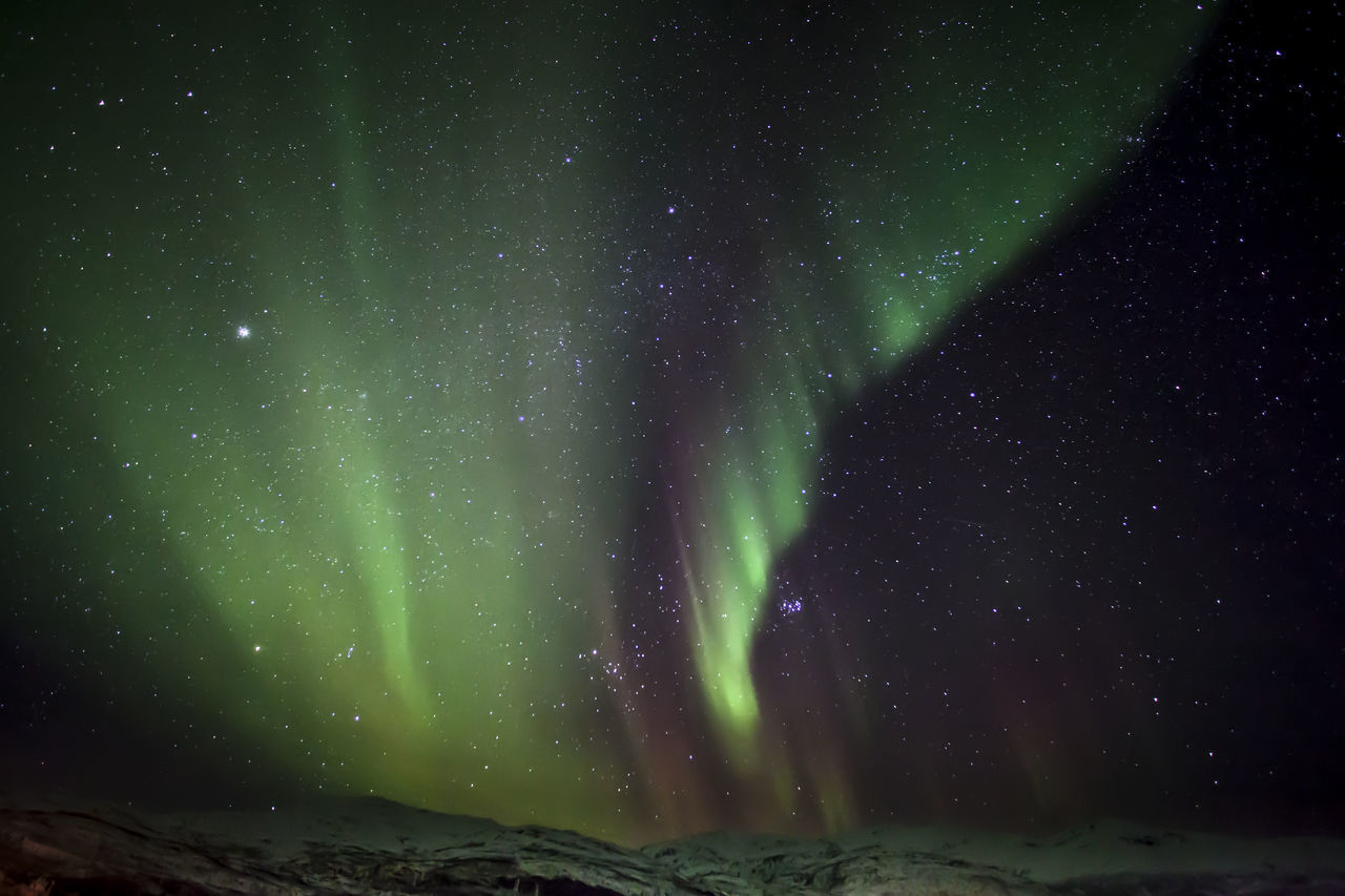 Low Angle View Of Aurora Polaris And Star Field At Night