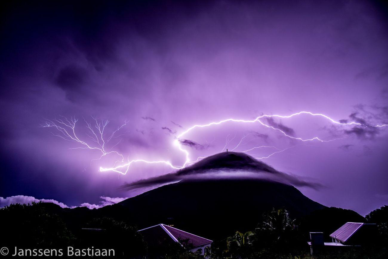 Lightning over Mount Scenery, Saba Dutch Caribbean. Lightning Storm Lightning Bolt Lightning Saba First Eyeem Photo