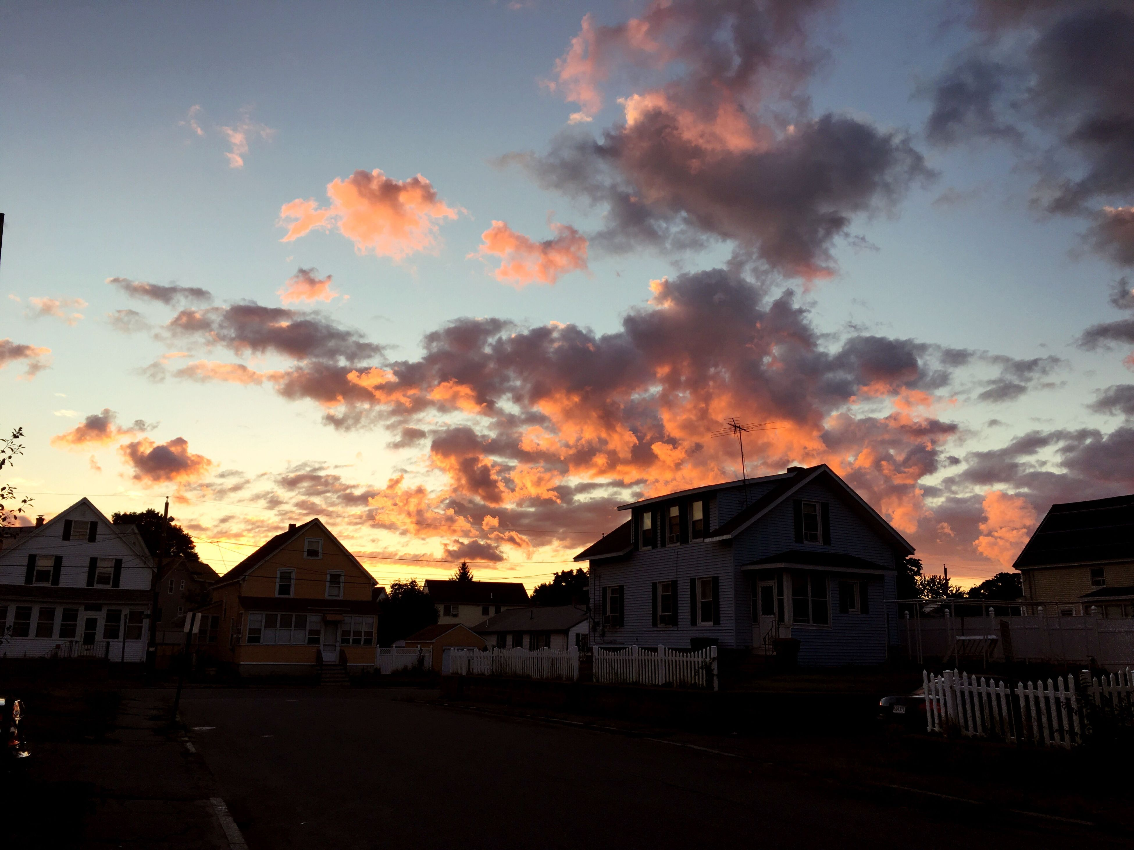 sunset, architecture, built structure, building exterior, house, sky, cloud, cloud - sky, scenics, cloudy, orange color, calm, outdoors, tranquil scene, exterior, no people, tranquility, majestic, town, beauty in nature, outline