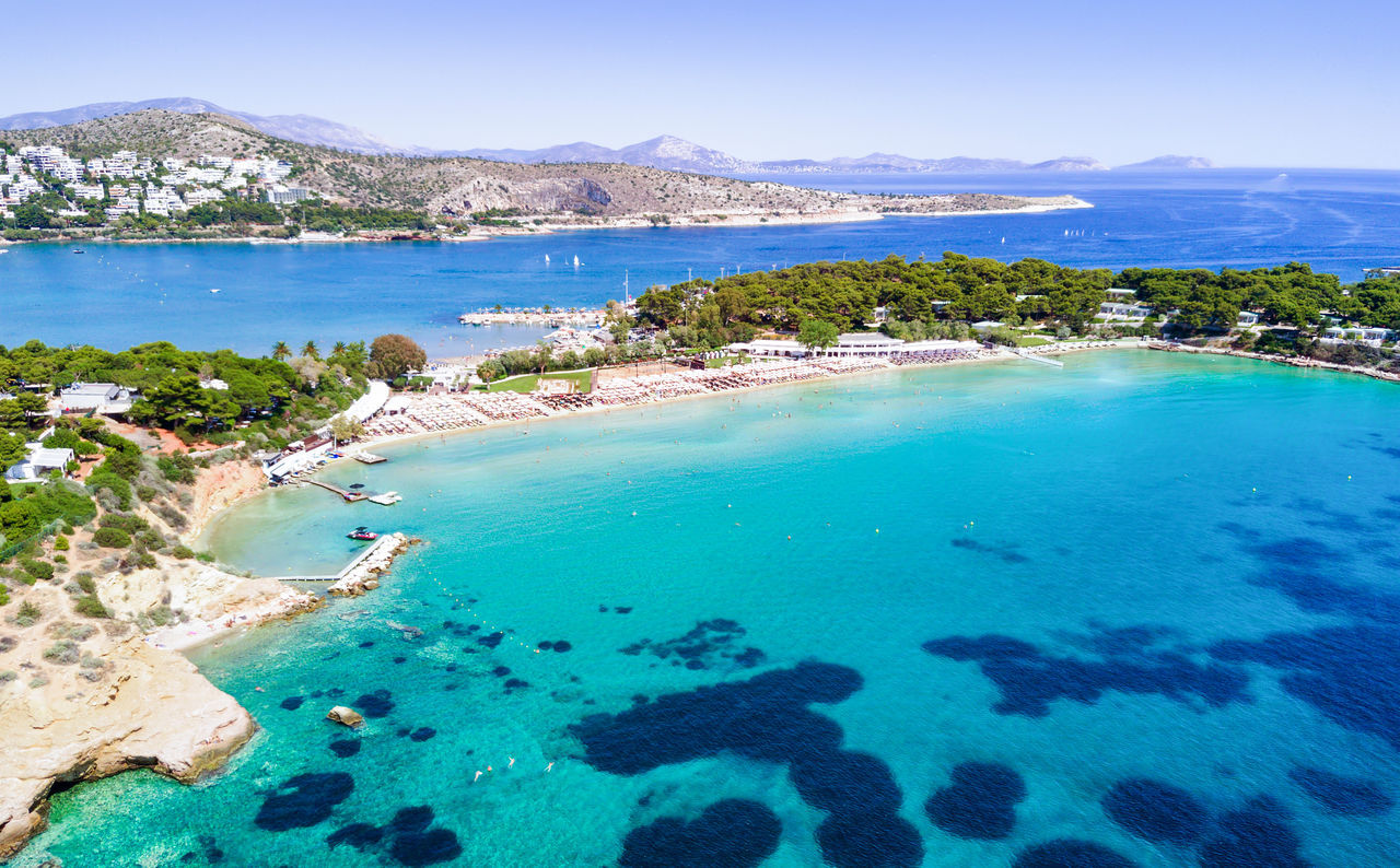 Astir beach in south Athens, Greece Above Aerial Astir Attica Beach Blue Day Exclusive  Greek Landscape Luxury Mediterranean  Nature Outdoors Popular Resort Sand Scenics Sea Sky Swimming Tourist Travel Destinations Turquoise Water