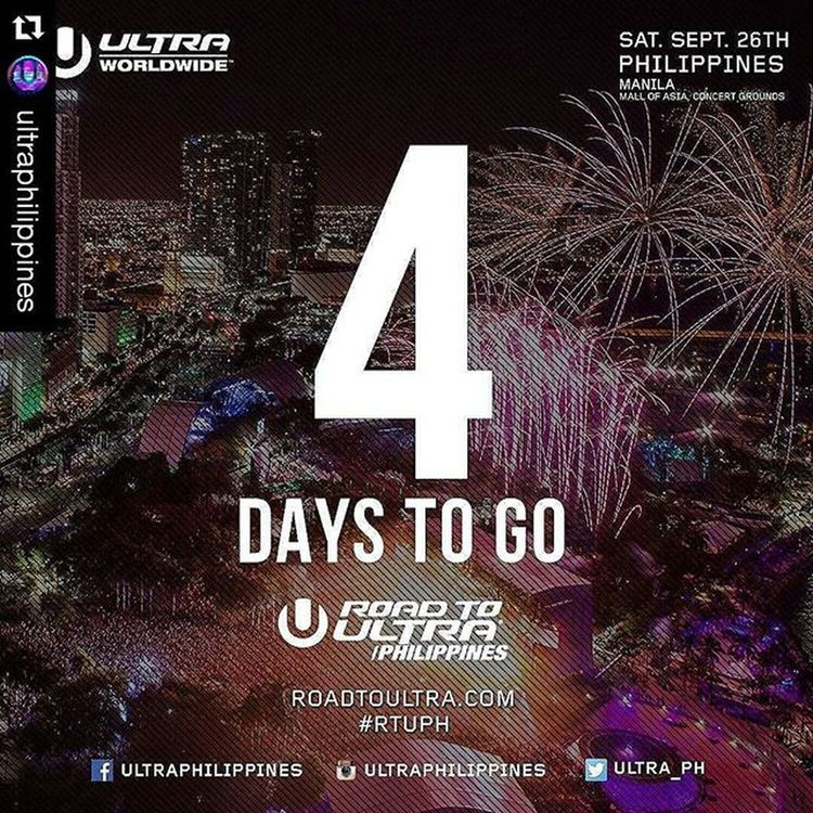 Roadtoultraphilippines2015 Repost @ultraphilippines with @repostapp ・・・ We are exactly 4 days away from the very first Road to Ultra Philippines!! Are you excited yet? We're getting closer and closer to September 26, so you better get your tickets now! For table reservations or other inquires contact 09288655133 RTUPH Smartroadtoultraph Skrillex  Feddelegrand Wegogrand WandW Atrak Vicetone Mija Zedsdead