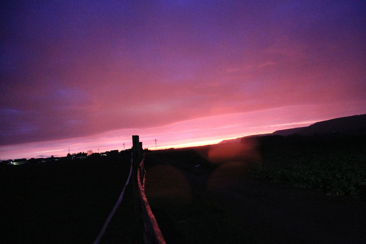 sunset, silhouette, sky, no people, nature, tranquil scene, outdoors, beauty in nature, scenics, landscape, road, tree, day