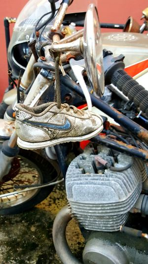 Day No People Outdoors Close-up Small Shoe Shoe Old Shoe Lucky Shoe City Life City Old Motorbike Moss Moss-covered Old Transportation Mode Of Transport
