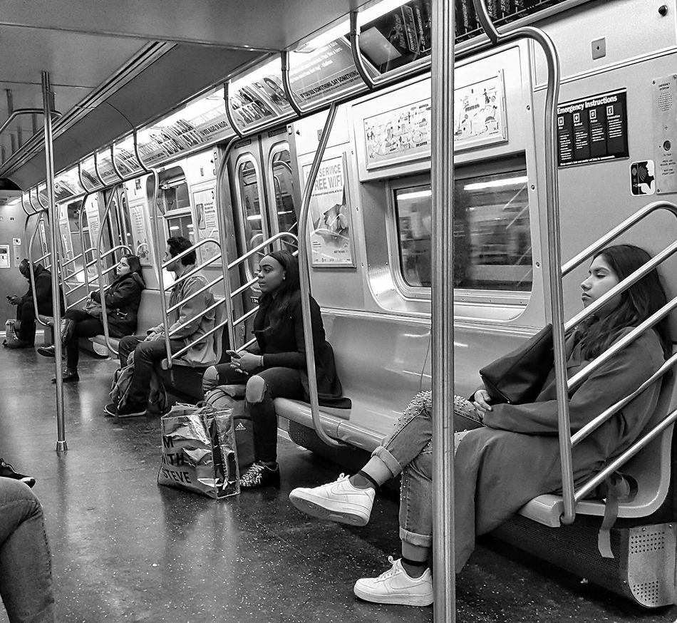 NYers value their personal space. Train - Vehicle Transportation Vehicle Interior Public Transportation Mode Of Transport Rail Transportation Indoors  People Train Interior New York City Photography EyeEyem EyeEm Gallery City Life NYC EyeEmBestPics Mobile Photography Shootermag_usa Urban Lifestyle NYC Photography Train Interior Subway Commuter Travel Public Transportation Bnw_friday_challenge