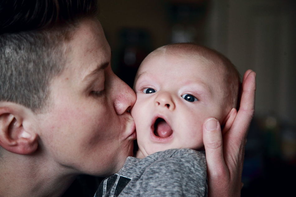Adult Baby Babyhood Bonding Care Childhood Family Family With One Child Grandma Headshot Innocence Kiss Lesbian Lgbt Love Love People Portrait Real People Son Togetherness