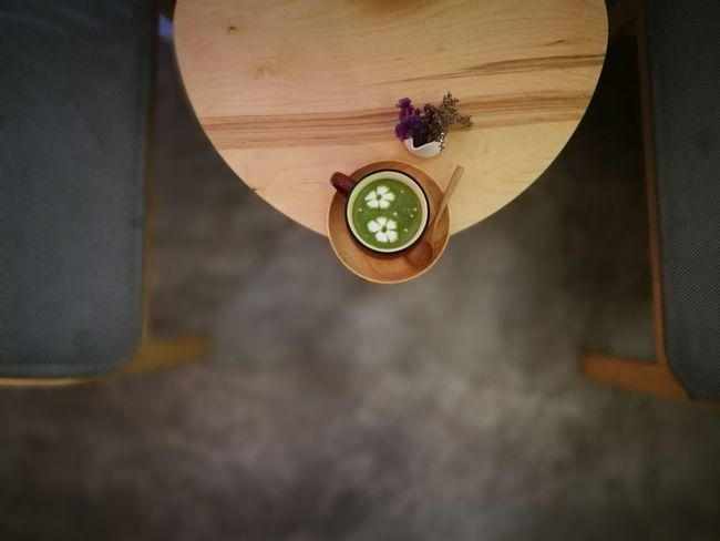 Macha Latte Macha Cafe Indoors  Concrete Floor Table Chair Coffee Art Latte Art Small Pot Small Pot With Plant P9leica Nofilter