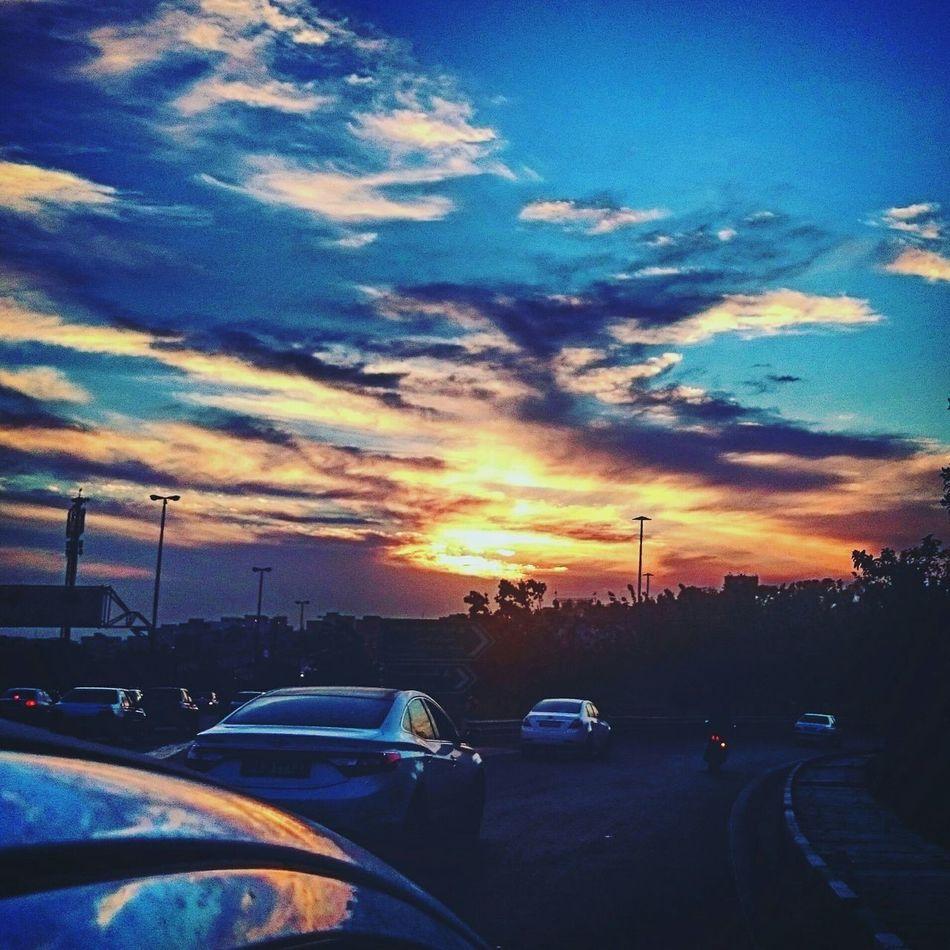 City City Life Sun Sunset Sundown Clouds Clouds And Sky Cloudporn Orangeandblue Traffic Tehran, Iran