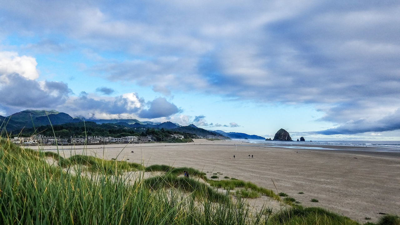 Cannon Beach, Oregon Mountain Scenics Beauty In Nature Landscape Nature Sky Beach Outdoors Travel Destinations Water Tranquility Sand Day Oregonbeach Summer Wave Cannon Beach Oregon Travel Saltwater Ocean Rocks Lowtide  Senic Relaxing EyeEmNewHere Miles Away