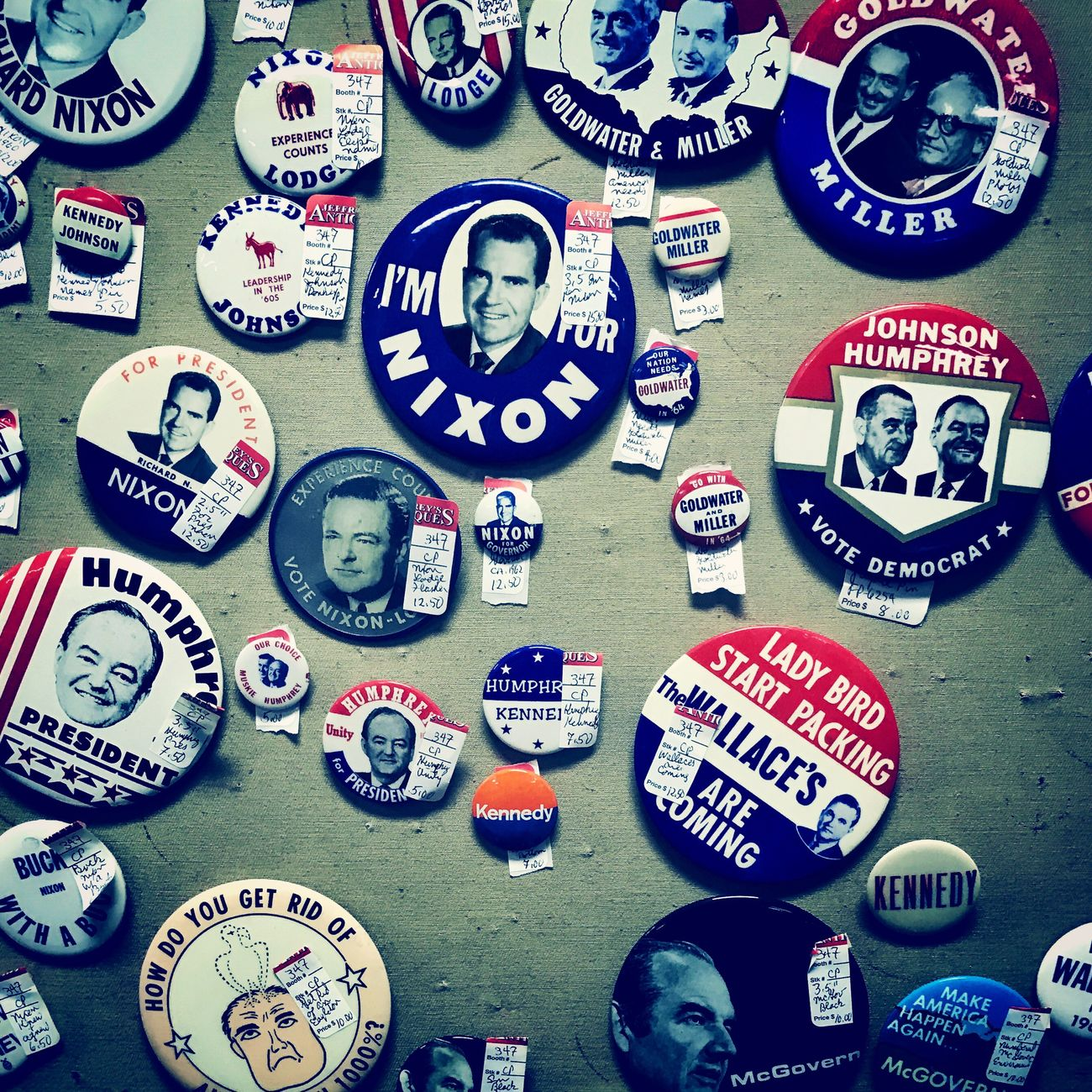 Time traveled today Antique Election Button
