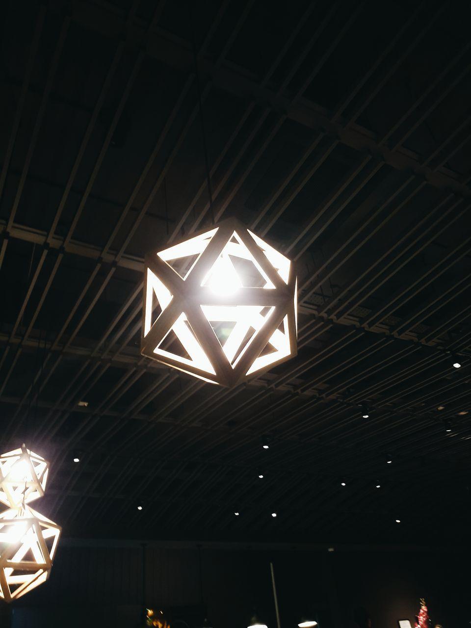 illuminated, lighting equipment, low angle view, no people, pattern, night, indoors