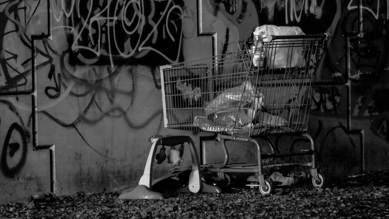 Desolate Desolate This Week On Eyeem Light And Shadow Light Dark Concrete Steel Structure  Contrast Black & White Black And White Collection  Black And White Photography Black And White Railway Streetphotography Contrasting Colors Freeway Overpass EyeEm Best Shots - Black + White Broke Graffiti Shopping Cart Alonetraveler