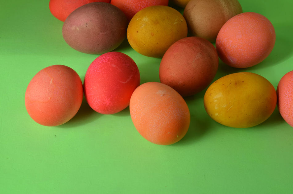 eggs colored with natural dyes--beets, turmeric powder, onion skins, tea stain Close-up Colored Eggs Day Easter Easter Eggs Eggs Holiday Indoors  Natural Dye No People Springtime Turmeric Powder