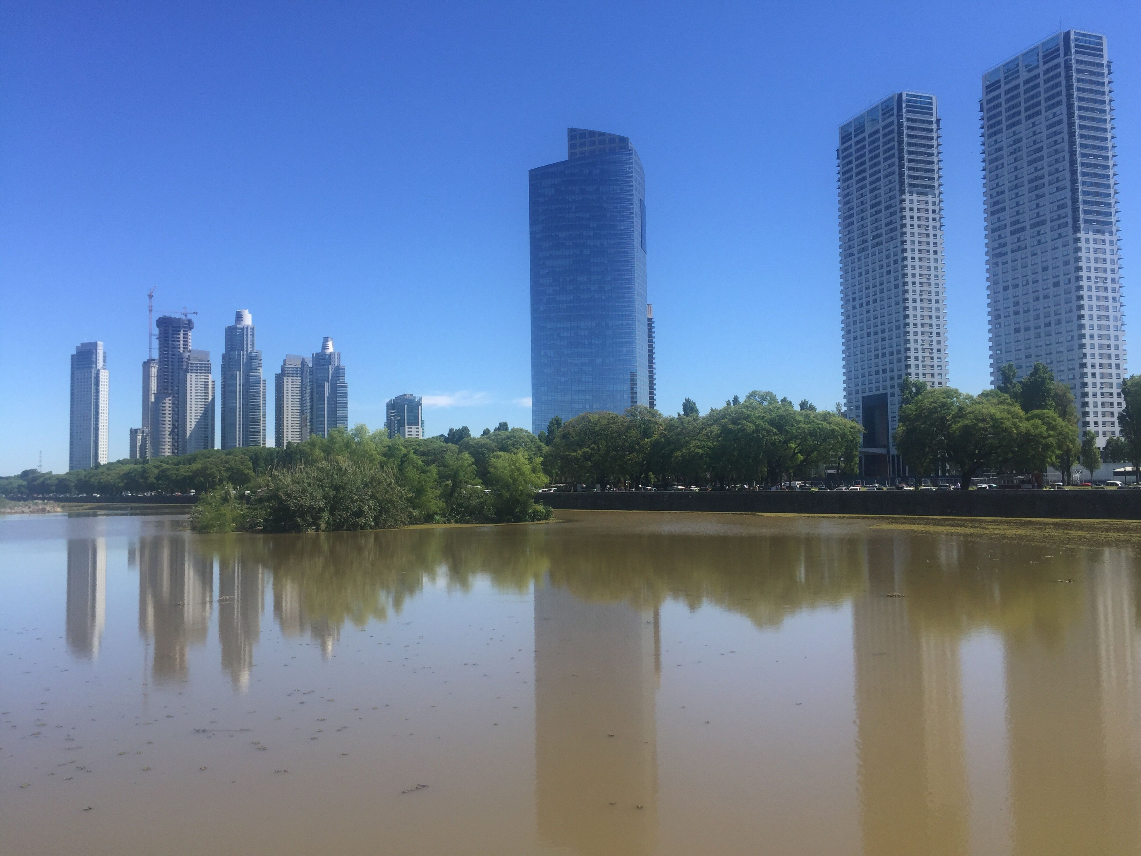 city, skyscraper, architecture, reflection, built structure, building exterior, water, tall - high, blue, clear sky, tower, modern, cityscape, travel destinations, urban skyline, sky, no people, day, outdoors, tree, growth, river, nature