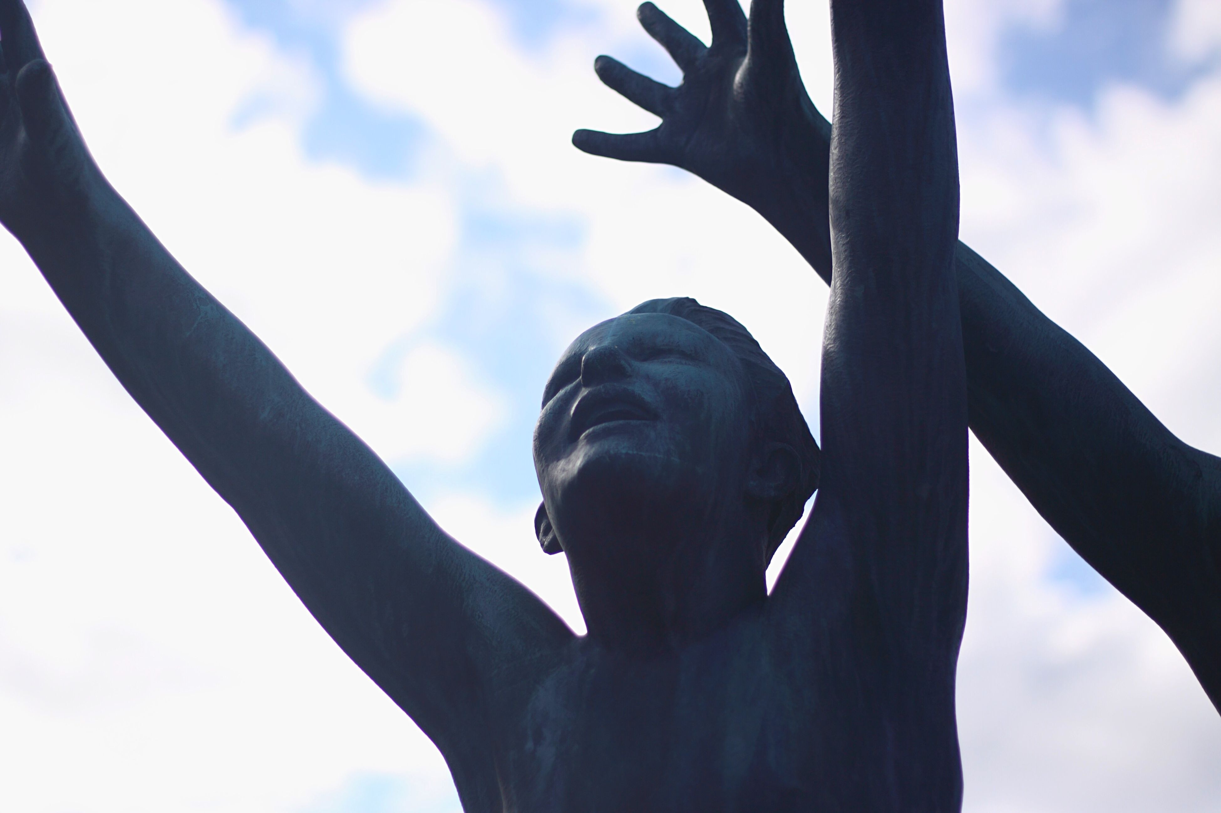 low angle view, sky, statue, sculpture, human representation, art, tree, art and craft, creativity, part of, cloud - sky, day, outdoors, close-up, cloud, silhouette, nature, cloudy, cropped