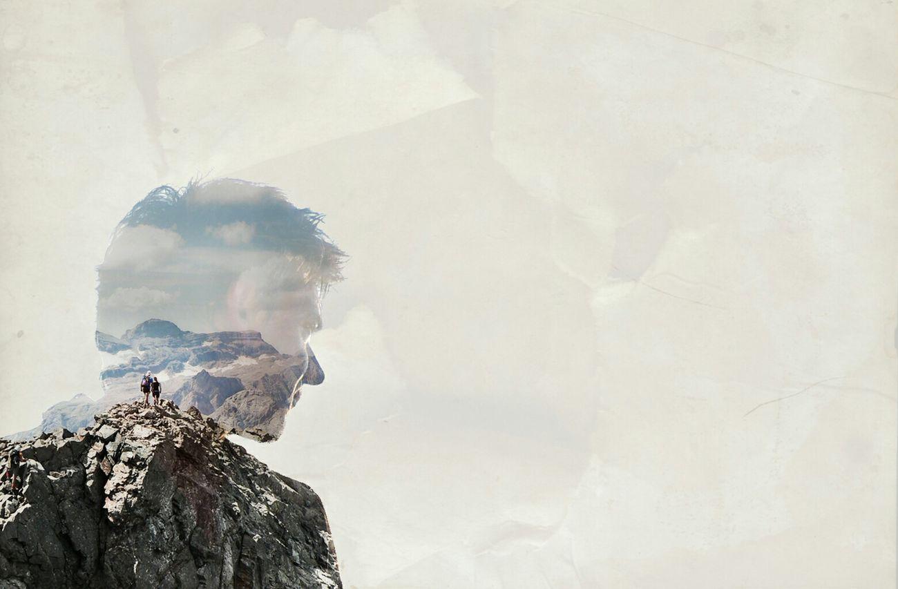 Photo Montage Double Exposure Graphic Design Portrait Mountain Peak La Munia Pyrenees
