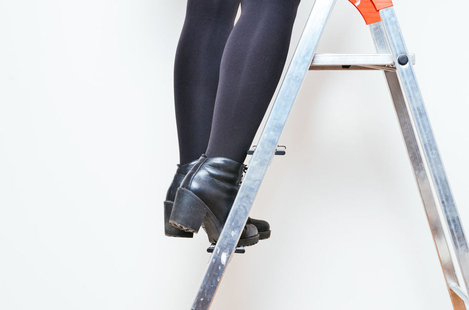Adult Adults Only Climbing Construction Copy Space Day High Heels Human Body Part Human Hand Ladder Low Section One Person Outdoors Painting People Renovation Renovations Woman Work Working