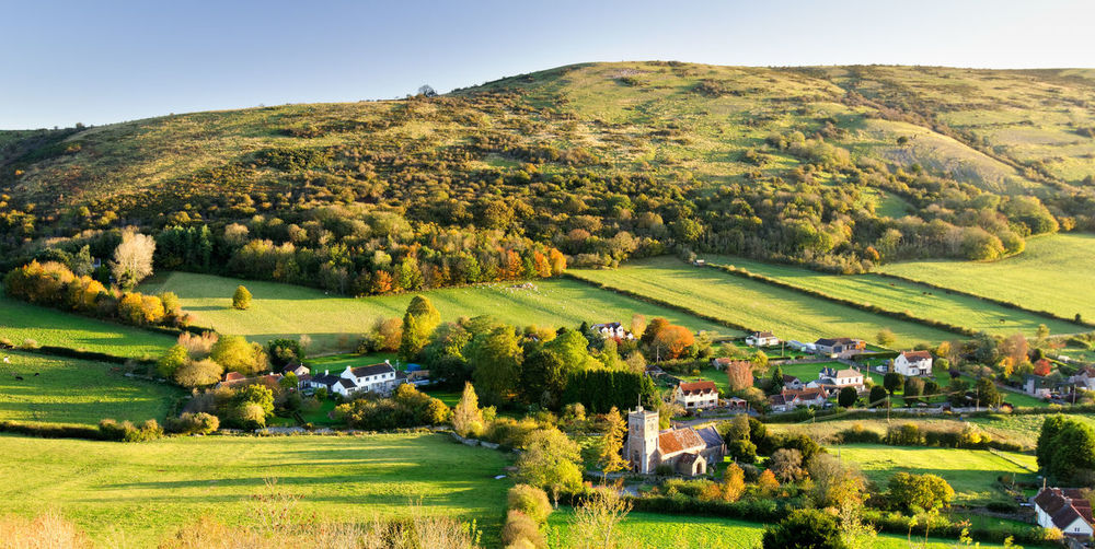 Beauty In Nature Clear Sky Crook Peak Farmhouse Field Golf Course Grass Green Color Hill House Landscape Mendip Hills Mendips Nature No People Outdoors Pasture Patchwork Landscape Rolling Landscape Rural Scene Scenics Sky Somerset Tranquil Scene Tree